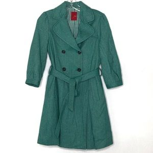 Noton Femme Teal double breasted tie trench coat